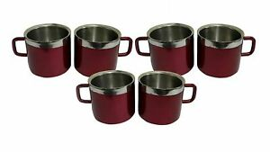 Stainless Steel Double Wall, Set of 6 Maroon Cups