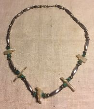 Zuni Native American Sterling Turquoise Mother Of Pearl Fetish Beaded Necklace