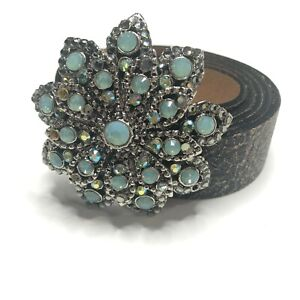 Leatherock Size 36 Distressed Leather Belt Opal Studded Flower Buckle