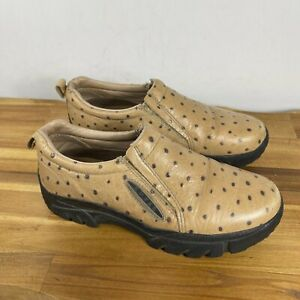 Roper Performance ostrich Leather Slip On Clog Shoes Womens Size 9