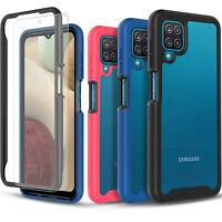 For Samsung Galaxy A12 Case, Transparent Rugged Cover + Tempered Glass Protector