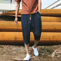 Men Cropped Trousers Linen Cotton Harem Shorts Capri Pants Loose Calf Length New