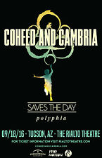 Coheed And Cambria / Saves The Day / Polyphia 2016 Tuscon Tour Concert Poster