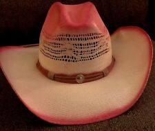 Western Express Bangora Cowboy Hat Woven Straw Ombré PINK Size Small/Med