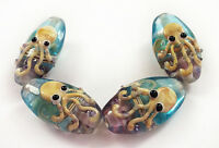Handmade Lampwork Glass Beads Blue Color Long Oval Octopus 28 mm 4 Beads (#a56v)