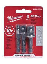 NEW! MILWAUKEE Shockwave Socket Adapter 3-Piece Set 48-32-5033