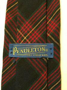 """Vintage Pendleton Tartan 55""""L 3""""W Wool Tie - Navy, Green, Red, Yellow"""