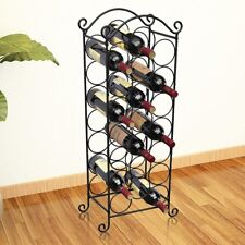 Tall Metal Wine Rack 21 Liquor Bottle Holder Antique Home Bar Storage Unit Black