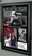 Lewis Hamilton 2016 vincitore GP di Monaco f1 MERCEDES incorniciato stampa tela firmato