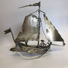 Antique Solid Silver Miniature Sailing Boat Dutch Imported Samuel Landeck 1881