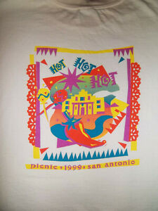 "Vintage 90s kinko's ""PICNIC"" 1999 T-Shirt Size XL 48"" San Antonio HOT! HOT! HOT!"