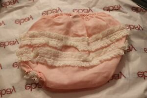 Vtg Baby Togs Lace Ruffles Pink Frilly Baby Diaper Cover Plastic Bloomers 0-3 m