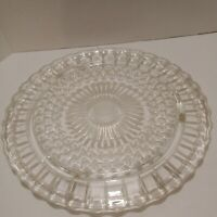 Vtg Clear Glass Hobnail Footed Cake Plate Dessert Pie  Wedding Scalloped  Edge