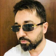 Men's Classy Elegant Exotic Clear Lens Eye Glasses Square Gold Wood Frame Shades