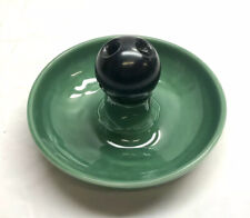 Vintage 1950s Rookwood Pottery Green Ashtray w Bowling Ball Snuffer Extinguisher