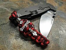 BLACK & RED PARACORD KNIFE PULL LANYARD CROSS CRUCIFIX BEAD AMERICAN MADE