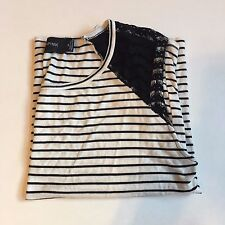 MINKPINK Ivory/Black Striped Tanktop with Lace Shoulders SIZE XSMALL