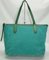 Fossil Sydney Suede Green Top Zip Tote Shopper Bag