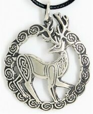 Solid Pewter Celtic Irish Stag Pendant - Wicca / Pagan / Celtic Jewellery