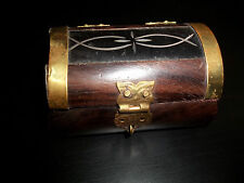 Ornate Wooden Treasure Chest Emerald Saphire Mica Foreign Coins GREAT Kids Gift