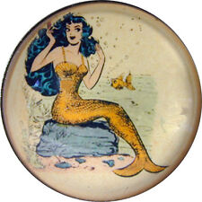 Crystal Dome Button Lg Sz  Vintage Mermaid on Rock  MM 16  FREE US SHIPPING