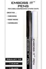 Inkssentials Bullet Tip Black & Clear Embossing Pens Resist Inking & Acid Free