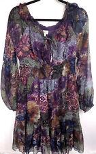Billa Purple Mulit Color Floral Blouson Long Blouse Size Large Long Sleeve