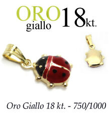 ciondolo regalo PORTAFORTUNA amuleto COCCINELLA oro 18kt. 750/1000 yellow gold
