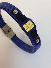 bracciale uomo acciaio tessuto jeans blu microchip finto pelle nera misura 21 cm