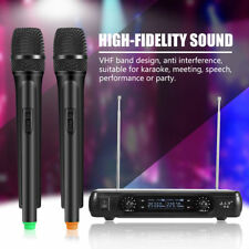 Pro 2 Channel VHF Wireless Dual Handheld Microphone Karaoke Mic System Receiver