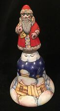 VTG Russian Hand Painted Santa Claus Bell decorative Christmas Holiday Bell