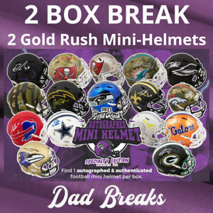MIAMI DOLPHINS Autographed/Signed GOLD RUSH SPECIALTY Mini Helmet 2 BOX BREAK