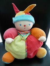 w12- DOUDOU PELUCHE BOULE CLOWN COROLLE VERT ROSE ORANGE  GM 32cms - NEUF *!