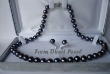 """18"""" Set Genuine AAA ROUND 9-10mm Black Pearl Necklace Earrin Cultured Freshwater"""