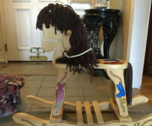 Childs Riding WOODEN ROCKING HORSE With Yarn Mane Tail Leather Ears HANDPAINTED