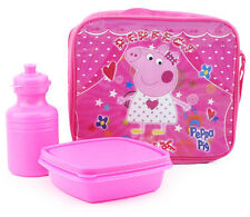 PEPPA PIG INSULATED LUNCH BAG BOX WITH PLASTIC WATER BOTTLE & CONTAINER PINK