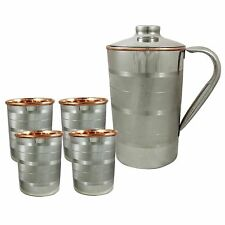 Indian Copper Drink Water Silver Polished Hammered Jug 4 Tumbler Glass Cup Mug