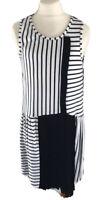 IKKS Kleid 152 Plissee 12 Ärmellos Schwarz Weiß Gestreift Sommerkleid Festlich