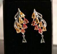 925 Silber Ohrringe mit neuen DesignJe gelbe u. Orange Edelsteine Hänger