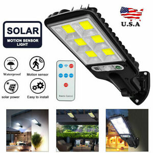600W LED Solar Street Wall Light PIR Motion Sensor Outdoor Lamp + Control Remote