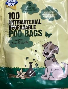 DOG POO BAG POOP SCOOP BAG 100 DEGRADABLE ANTIBACTERIAL VANILLA SCENTED