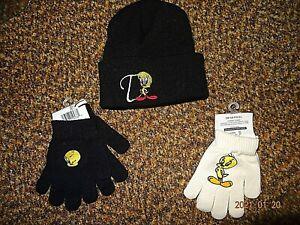Warner Bro. Looney Tunes Tweety Black Beanie + 2 Sets of Tweety Gloves New