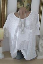 OVERSIZE Shirt Vintage KURZARM TUNIKA Sommer Pailletten STERN Weiß 44 46 48
