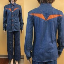 Vintage 70's Faded Glory Denim & Orange Faux Leather Jacket & Bell Bottom Pants