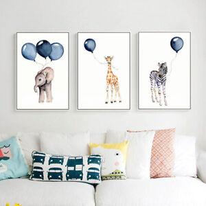 Elephant Zebra Giraffe Baby Nursery Room Hanging Wall Decor Posters Painting Art
