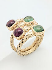 14K Yellow Gold Green & Pink Tourmaline Cabochon Right Hand Ring Size 8.5