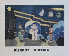 """""""PIERROT VICTIME"""" Pochoir original entoilé numéroté 57/500 signé GYUX (?)"""