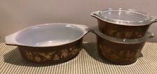 Three Pyrex Early American baking dishes 043 1.5 qt., 471 1pt  & 473 1 qt 2 lids