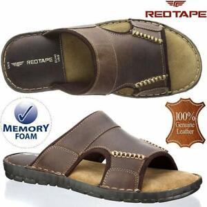 Mens Leather Sandals Walking Memory Foam Comfort Flip Flop Summer Sandals Shoes