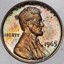 1965-P LINCOLN MEMORIAL CENT REMARKABLE DEEP TONED COLORING UNC BU (MR)